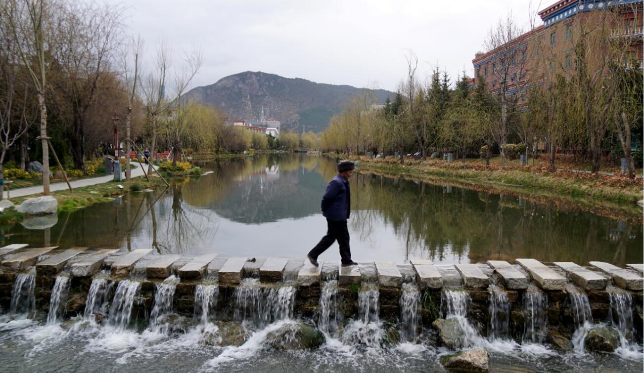 在龙潭湖公园景观桥上散步