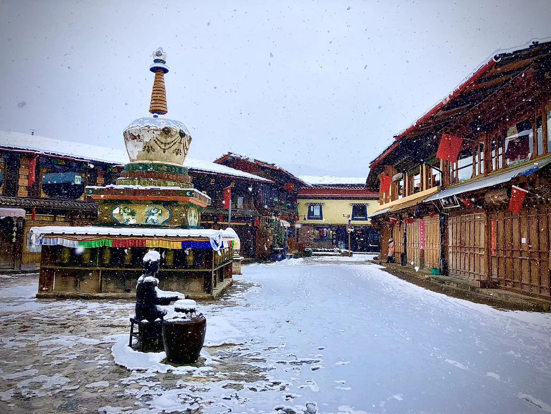 香格里拉又下雪啦!雪景虽美,出门赏雪记得带上口罩哦!